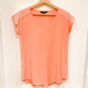 Express Orange Silky V-neck Rolled Sleeve Blouse